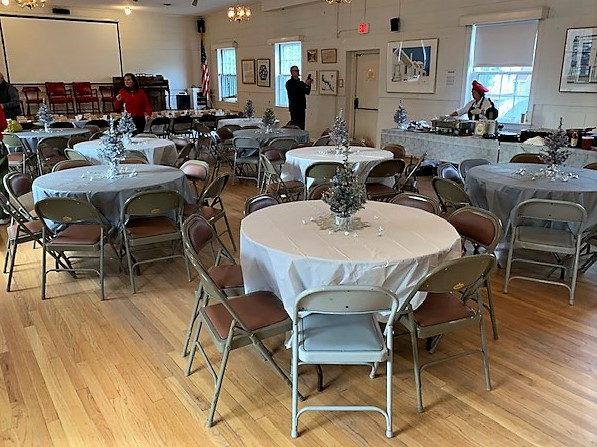 Town Hall set up for Holiday Brunch